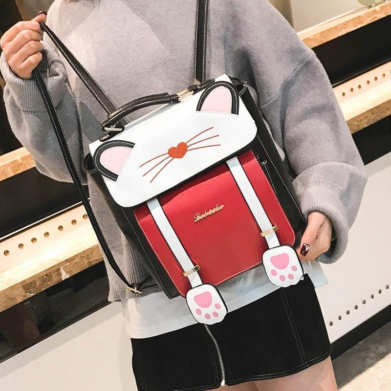 Cat Themed Kitty Backpack with PU Leather - HomeWareBargains
