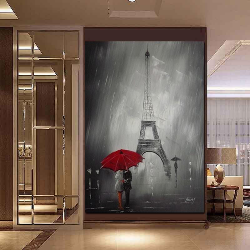 Red Umbrella in Paris Print on Canvas - HomeWareBargains
