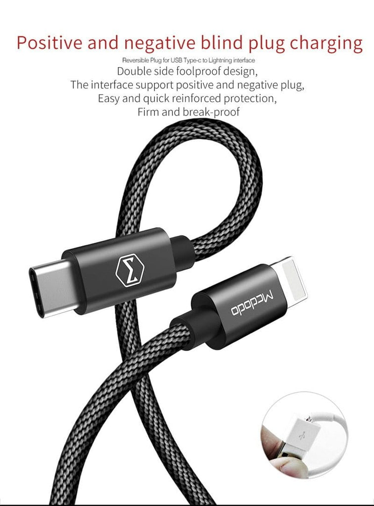 Rugged Nylon Braided USB-C Cable to 8 Pin For iPhone X 8 8 Plus Phone Data Cable QuickCharge