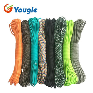 Paracord Cord - Used for Tent Rope Guyline Mil Spec Type III 7 Strand 50FT 100FT For Hiking Camping 215 Colors