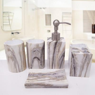 European wash set Marble resin bathroom five-piece Upscale bathroom kit