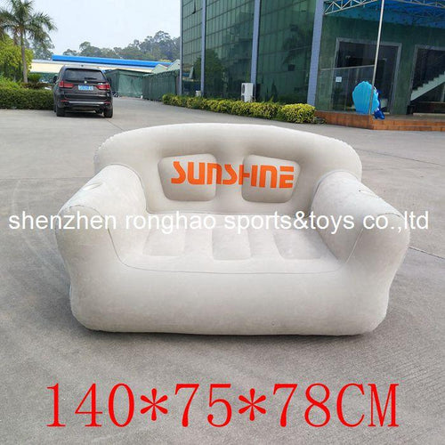 PVC Inflatable Living Room Sofa Lounge Air Chair With Cup Holder - Indoor Outdoor Double Seat