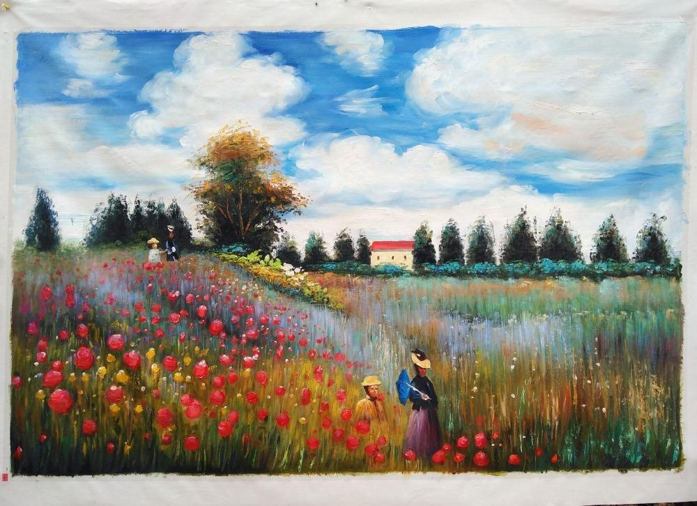 Oil Painting Reproduction - Poppy Field in Argenteuil by Claude Monet - HomeWareBargains