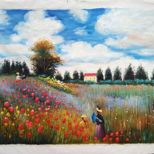 Oil Painting Reproduction - Poppy Field in Argenteuil by Claude Monet
