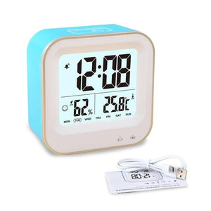 LED Alarm Clock Touch Control - Time Temperature Humidity Date with an Led Display and Snooze - Rechargeable