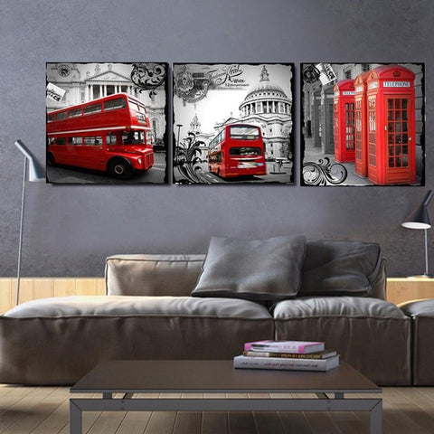 London Street Print on Canvas - Three Picture Combination