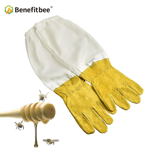 Beekeeper Gloves with Protective Sleeves - Ventilated Professional Anti Bee
