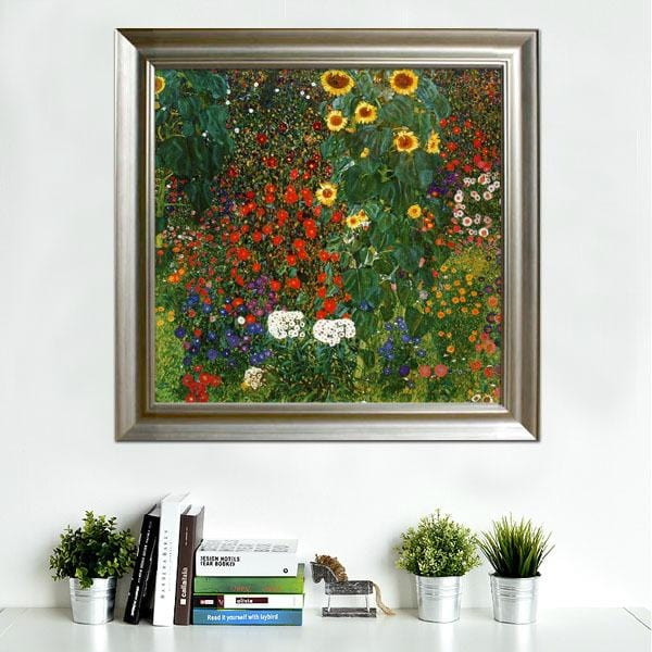 Handmade Oil Painting reproduction - Farm Garden with Sunflowers by Gustav Klim