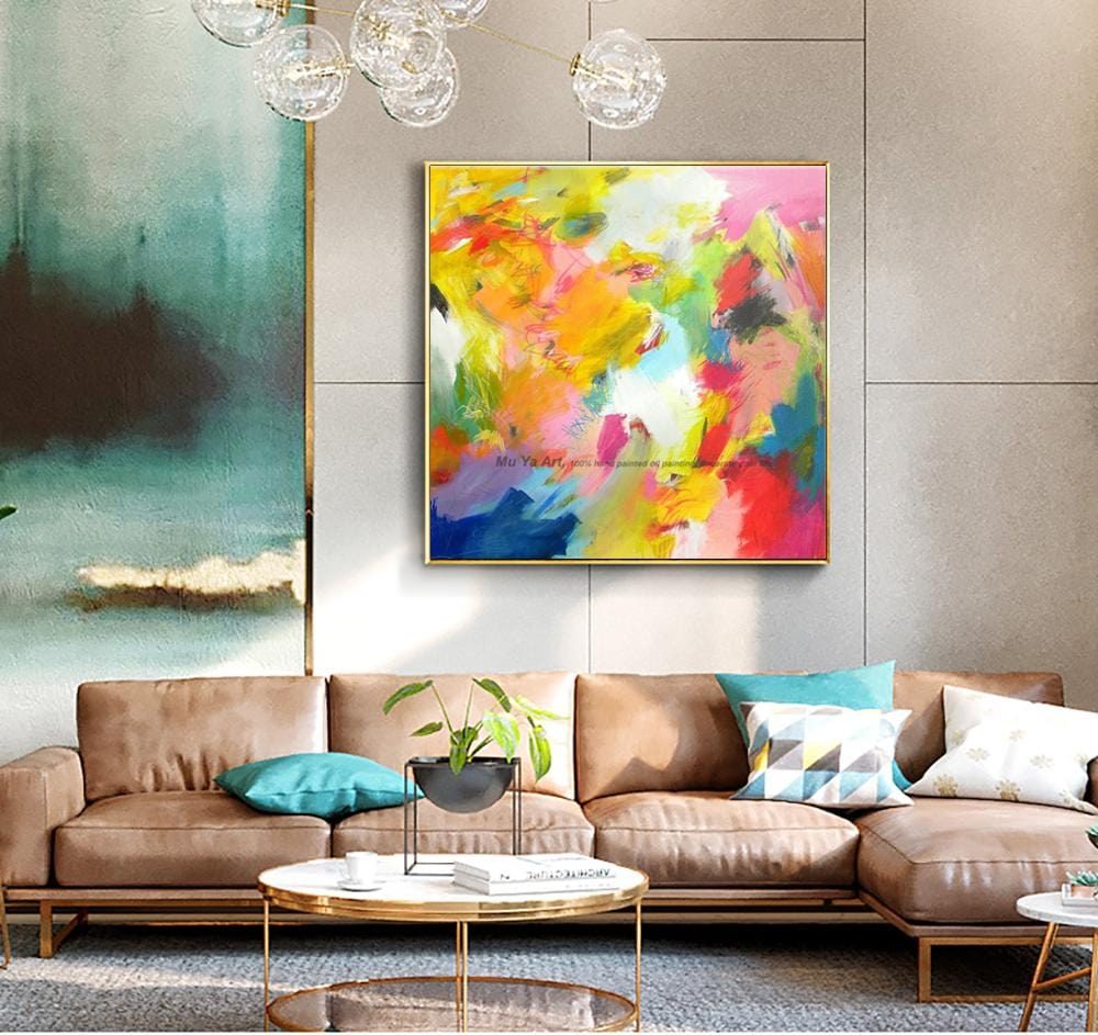 Modern Painting - Abstract Wall Art on Canvas - HomeWareBargains