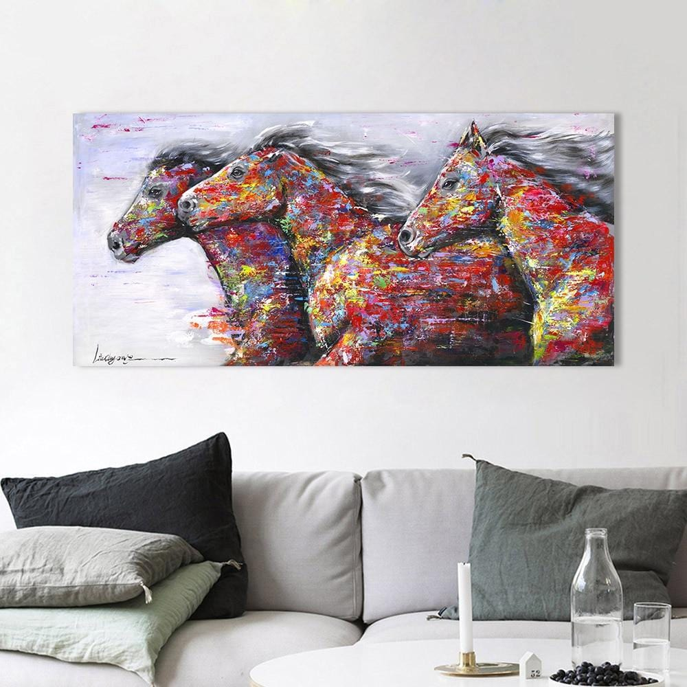 Three Running Horses - Most Stunning Print on Canvas - HomeWareBargains