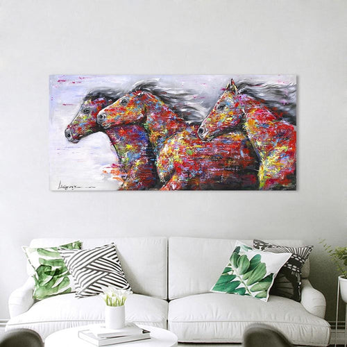 Three Running Horses - Most Stunning Print on Canvas