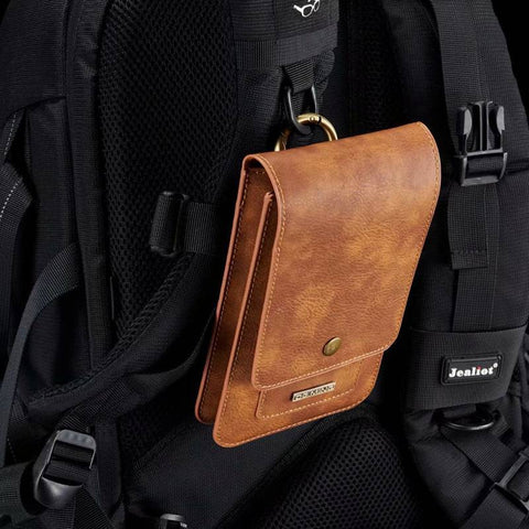 Mobile Phone Pouch for two phones - Belt Hole to hang off waist - For All Phones iPhone or Samsung, any phone Case Waist Pack Luxury Leather Covers