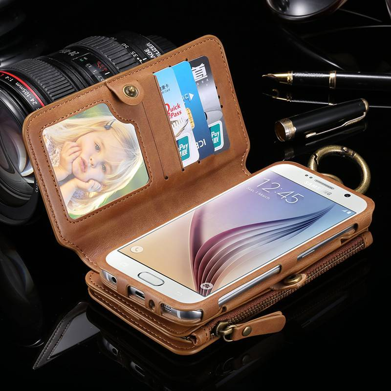 Purse Phone case For Samsung S7 S6 Edge Plus Note 5 7 4 3 with Luxury Leather