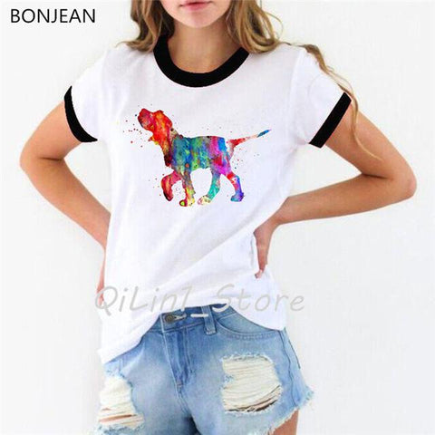 Bull Terrier Watercolor-Style T Shirt for Women - HomeWareBargains
