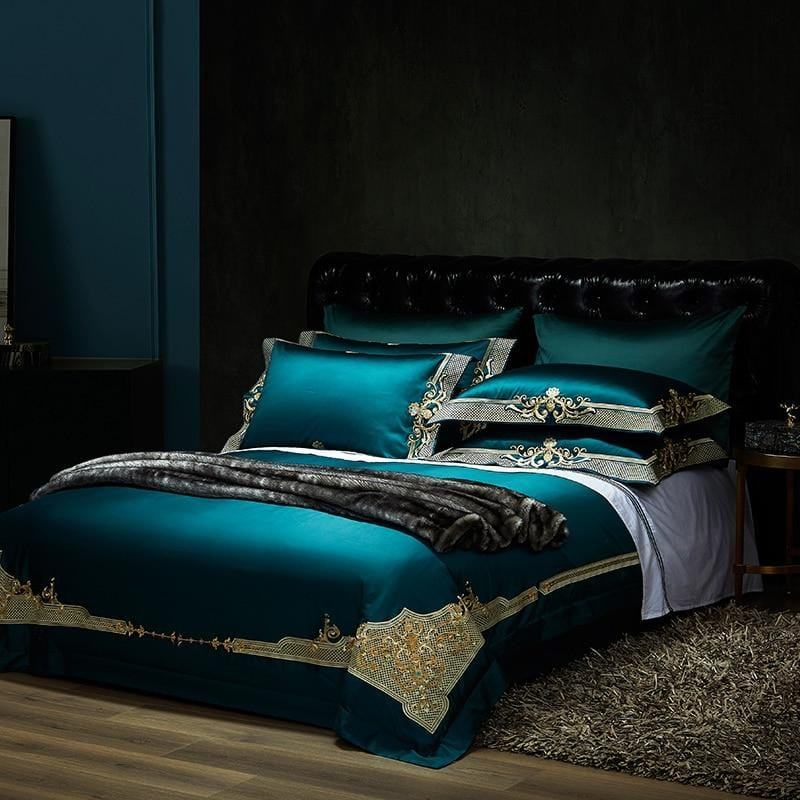 1000TC Egyptian Cotton Royal Bedding set - Europe Premium Chic Embroidered Duvet cover Bed sheet set - HomeWareBargains