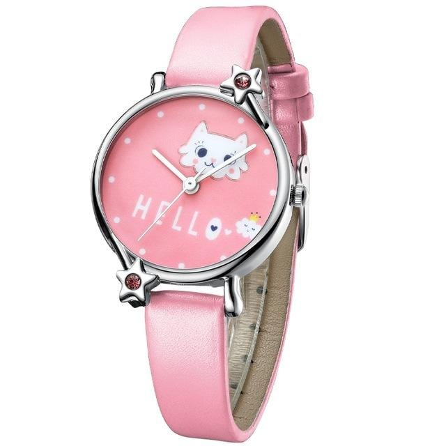 Feline Female Watch - Cartoon Cat - Waterproof Pink and Leather - HomeWareBargains