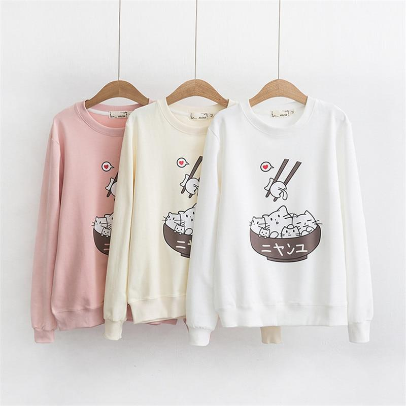 Round Neck Long-sleeved Hoody, with Japanese Style Harajuku - HomeWareBargains