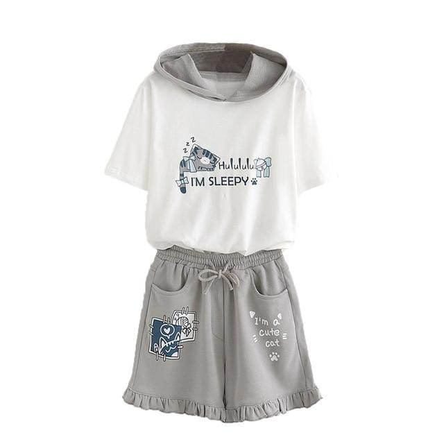 Cute Cat Sleepwear - Shirt and Shorts Optional Separate Sale - HomeWareBargains