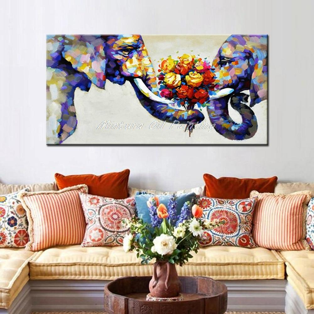 Stunning Oil Painting on Canvas - Elephants in Love piece. - HomeWareBargains