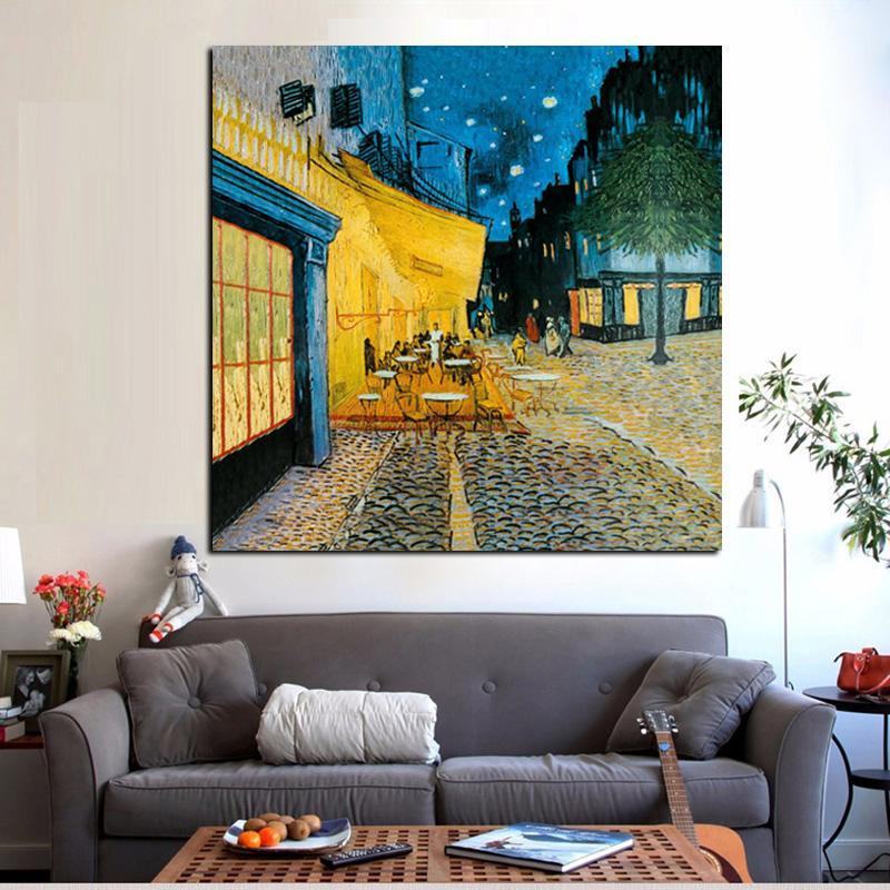 Van Gogh Reproductions Print on Canvas - The Cafe Terrace at Night - HomeWareBargains