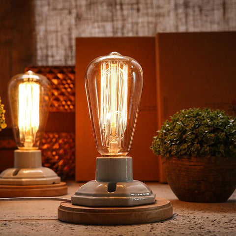 Vintage Retro Table Lamp - Dimmable with Ceramic Wooden Base - Bulb Included - HomeWareBargains