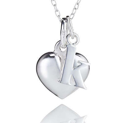 d7cbc83352df Sterling Silver Heart Pendant Necklace with Personalised Sterling Silver  Initial Charm-Bespoke Jewellery Collection-