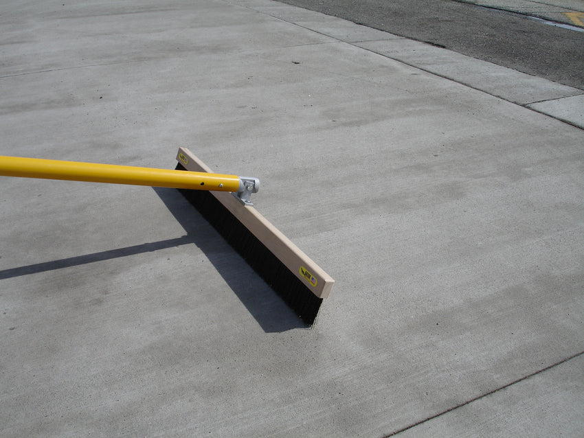 "Medium Soft .010"" Poly Concrete Broom and Bracket Combination with Automatic Swivel Bracket"