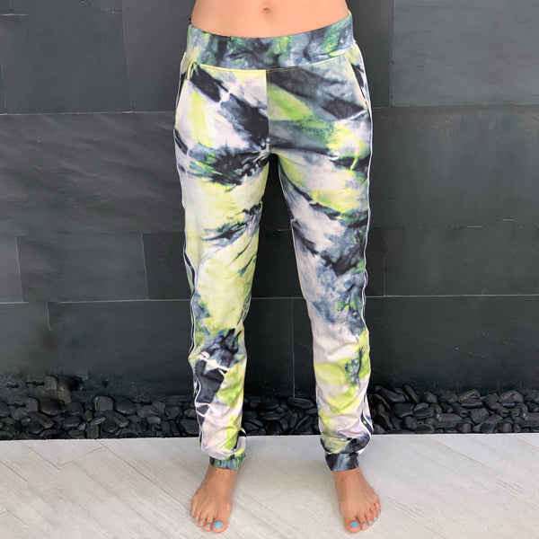 BLACK AND NEON GREEN TYE DYE JOGGERS