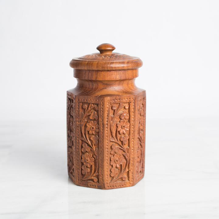 Carved Wooden Canister