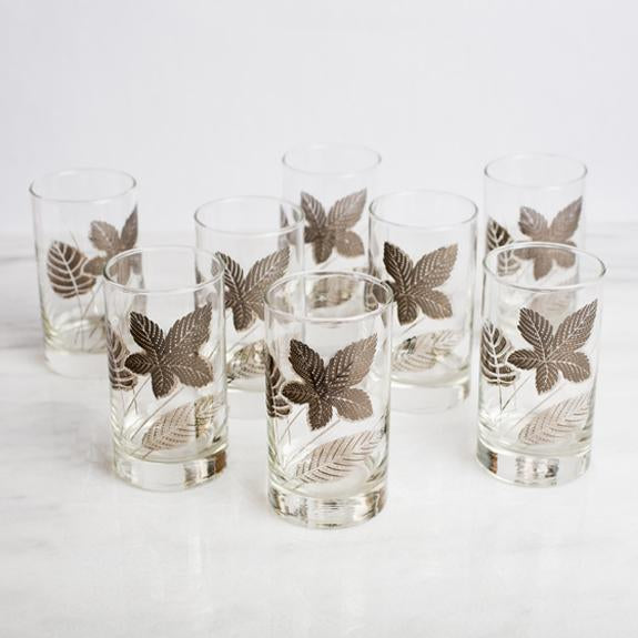 Silver Leaf Glass Set