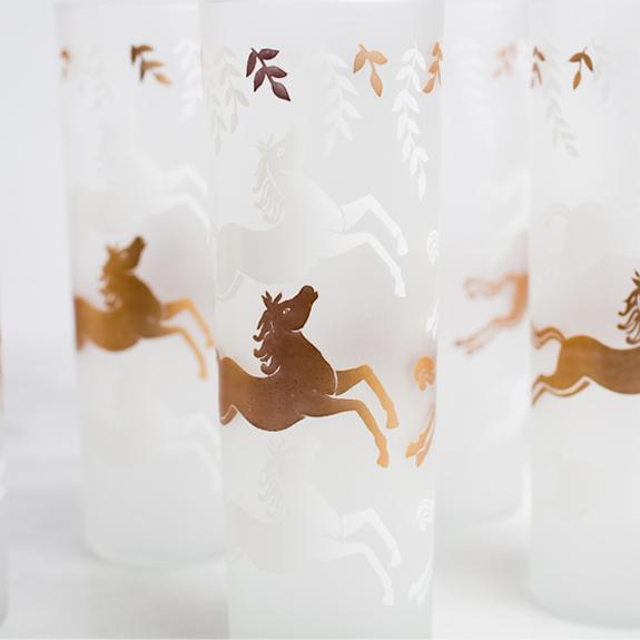 Etched Horse Glass Set