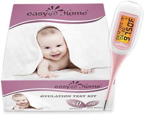 Ovulation and Fertility Tracking Starter kit. Easy@Home 50 ovulation and 20 pregnancy test strips and a bluetooth enabled basal body temperature thermometer that pairs with the Free Premom Ovulation tracker app.