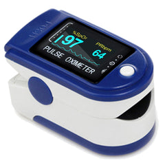 Easy@Home Fingertip Pulse Oximeter SpO2 Blood Oxygen Saturation Meter and Heart Rate Monitor, Rotatable OLED Display with Batteries Included and Portable Lanyard -EHP050
