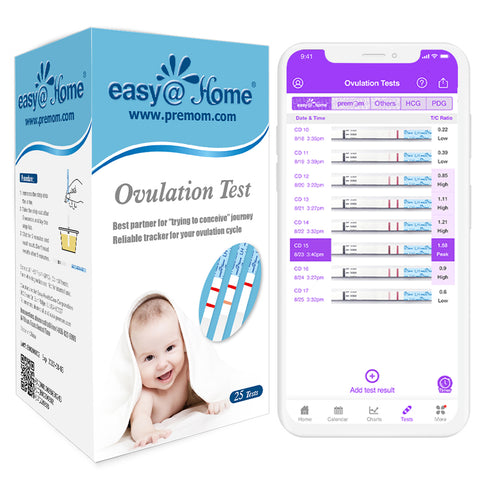Ovulation test strips (25 ovulation test kit) with free Premom ovulation tracker app to help predict your fertile window and peak fertility to get pregnant fast.