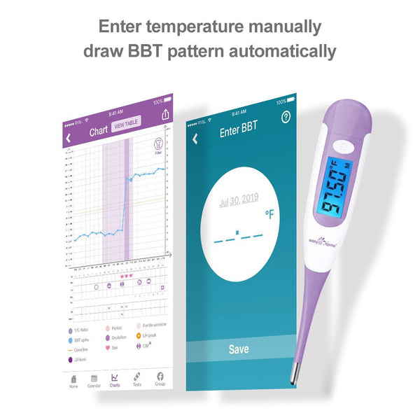 Easy@Home Digital Basal Thermometer with Large Backlight LCD Display, 1/100th Degree High Precision and Memory Recall, for Ovulation Tracking and Natural Family Planning, Upgraded EBT-100B-P (Purple)