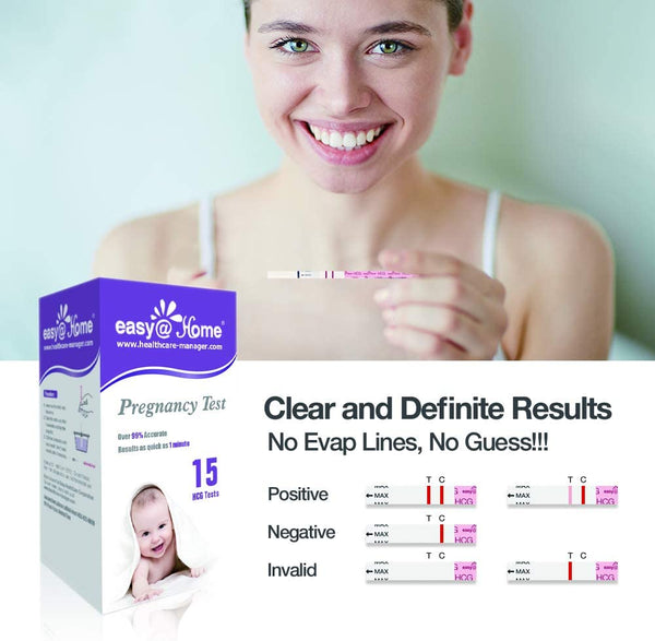 Easy@Home Pregnancy Test Strips Kit, 15 HCG Tests