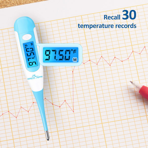 Easy@Home Digital Oral Basal Thermometer With Large Blue Backlit LCD Display, EBT-100-Blue