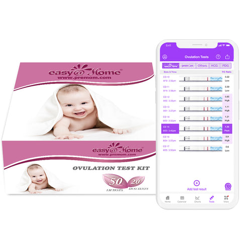 Kit de test d'ovulation Easy @ Home 50 et 20 bandelettes de test de grossesse - Kit de prédiction d'ovulation fiable (50 LH + 20 HCG)