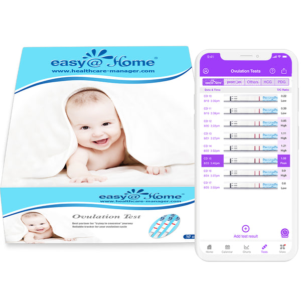 Easy@Home 50 Ovulation Test Strips - Ovulation predictor kit to track your ovulation cycle.