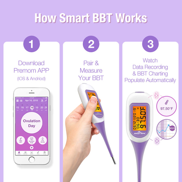 Easy@Home Smart Basal Thermometer with Free iOS & Android App EBT-300 Purple