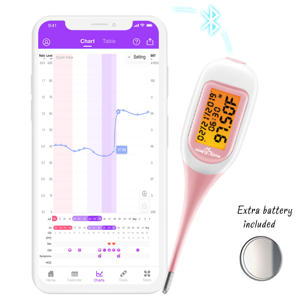 Thermomètre basal intelligent Easy @ Home avec application iOS et Android gratuite EBT-300 Rose