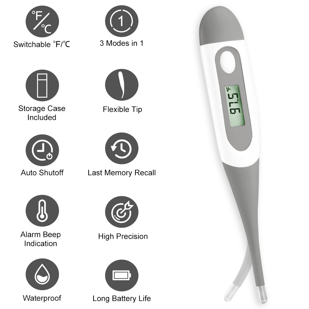 Digital médical Thermomètre Beeper fièvre Alarme Auto off LCD Baby First Aid