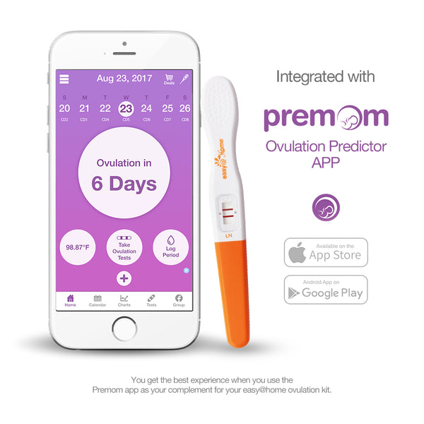Easy @ Home 25 bâtonnets de test du kit de prédiction de l'ovulation, tests de fertilité en milieu de parcours, alimentés par l'application Premom Ovulation Predictor et suivi des règles iOS et Android gratuits, 25 tests de LH