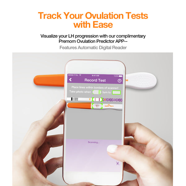 Easy@Home 15 Ovulation Predictor Kit Test Sticks, Midstream Fertility Tests, Powered by Premom Ovulation Predictor App and Period Tracking Free iOS and Android App, 15 LH Tests
