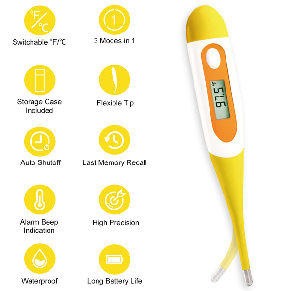 Easy@Home Digital Oral Thermometer for Kid, Baby, and Adult, Rectal and Underarm Temperature Measurement for Fever with Alarm EMT-021-Yellow