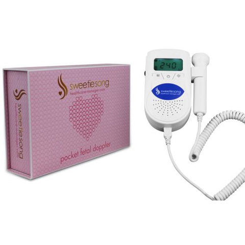 SweetieSong EZD-100S6 Blue Pocket Fetal Doppler, 3MHz Probe, Premium Package, Baby Heart Monitor