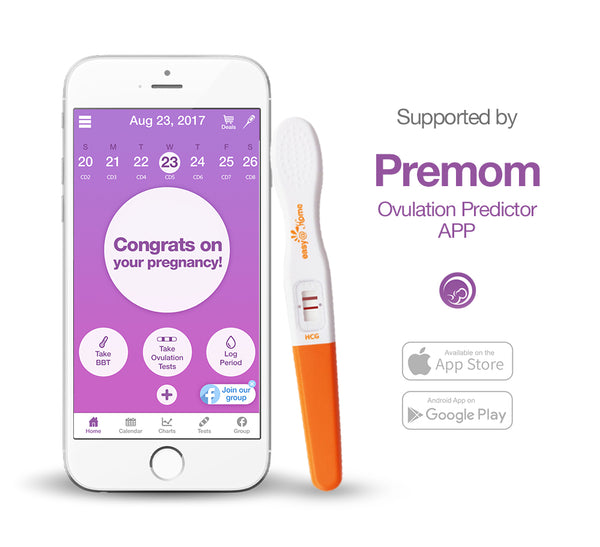 Bâtonnets de test de grossesse Easy @ Home 3 - Tests hCG Midstream, alimentés par Premom Ovulation Predictor iOS et Android App