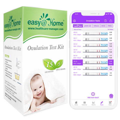 Easy@Home 15 Ovulation & 5 Pregnancy Test Strips Kit-Ovulation Predictor Kit (15LH + 5 HCG)