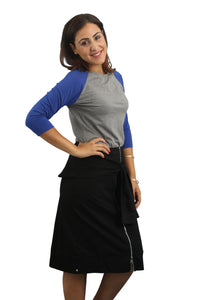 Zipper Sleeve Skirt - Black