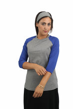 Baseball Tshirt - Grey w/blue sleeves